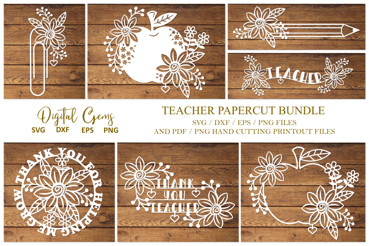 Teacher papercut bundle SVG / DXF / EPS / PNG Files