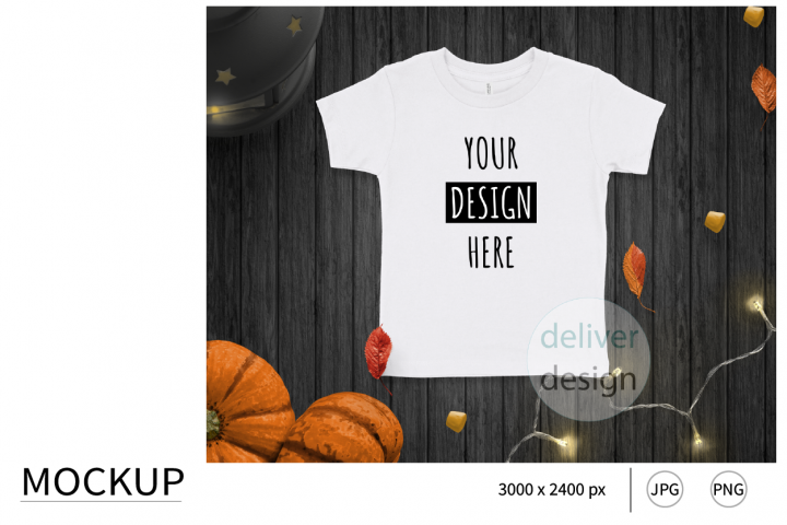 Halloween White Unisex Toddler Mockup. Bella Canvas 3001T.