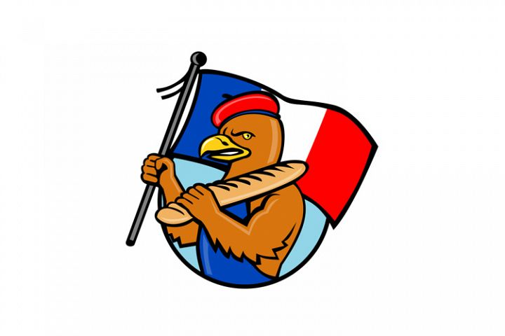 French Eagle Holding Flag and Baguette Cartoon