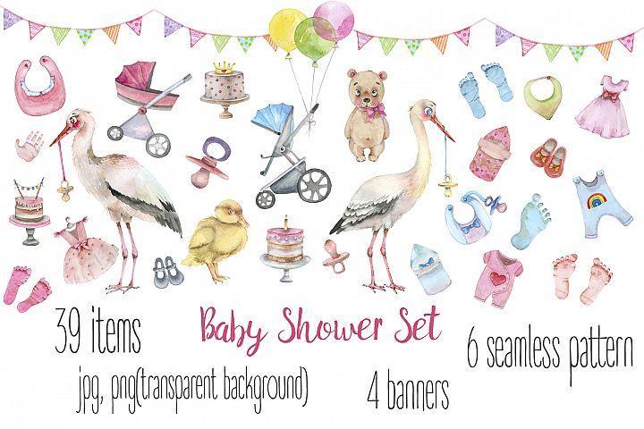 Baby Shower watercolor set