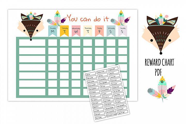 Kids reward chart, Tribal graphic design , Kids daily routin