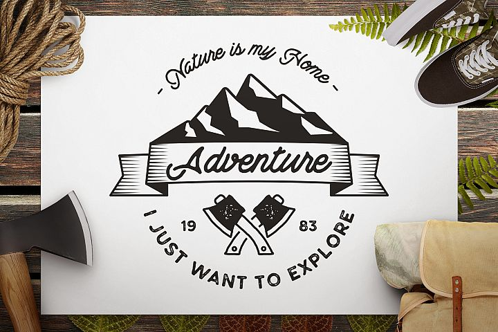 Mountain SVG Cut File, Explorer Digital, Camp Printable cut file, Adventure SVG, Silhouette, Cricut Cutting File, Camp SVG Cut file
