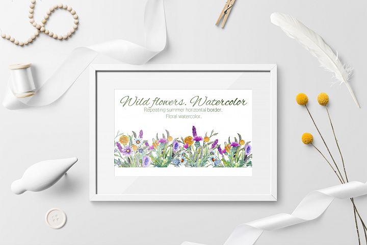 Wild flowers. Watercolor. Repetition of horizontal border.