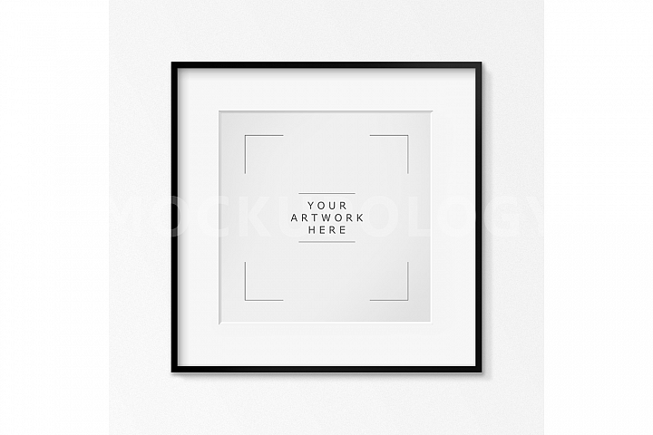 SQUARE Digital Black Frame Mockup, White Wallpaper Background, Styled Photography Poster Mockup, Framed Artwork Mockup, INSTANT DOWNLOAD