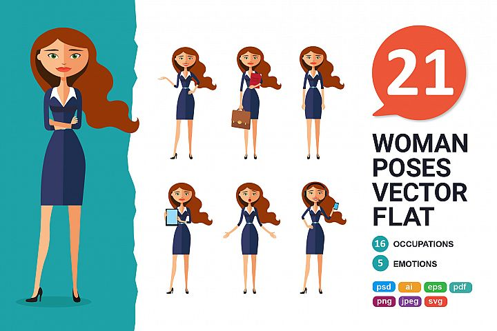 Business woman Character Cartoon vector collection