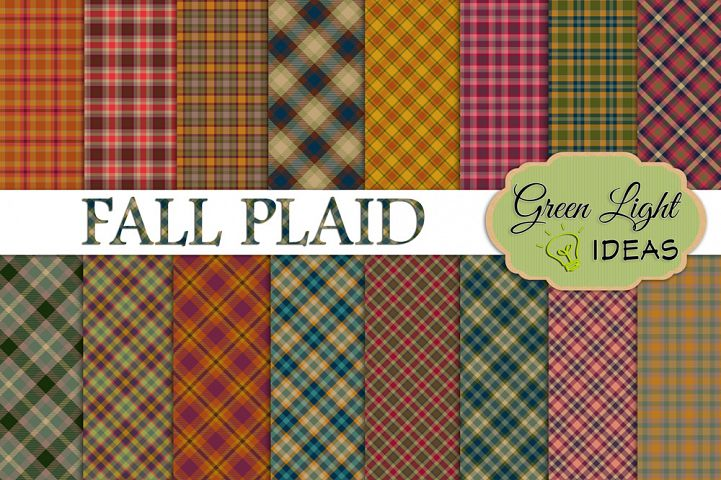 Fall Plaid Digital Papers, Plaid Backgrounds