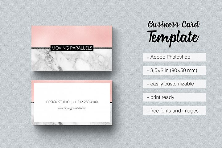 Rose Gold Pink Foil Marble Business Card