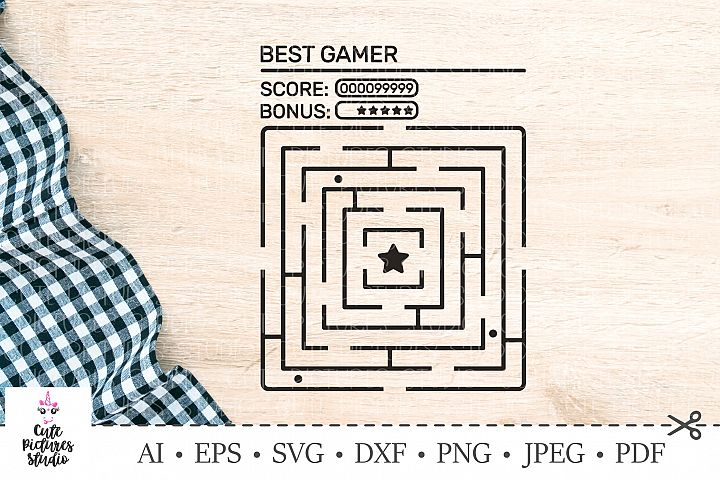 Game labyrinth. Boy t-shirt design. SVG DXF cut file.