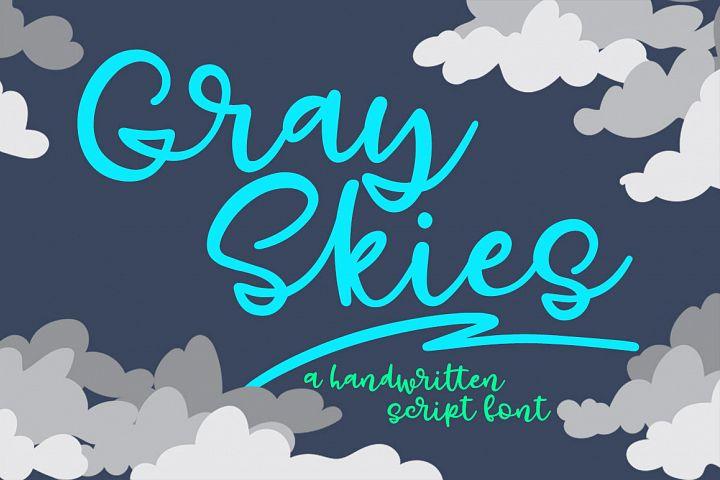 Gray Skies - handwritten script font