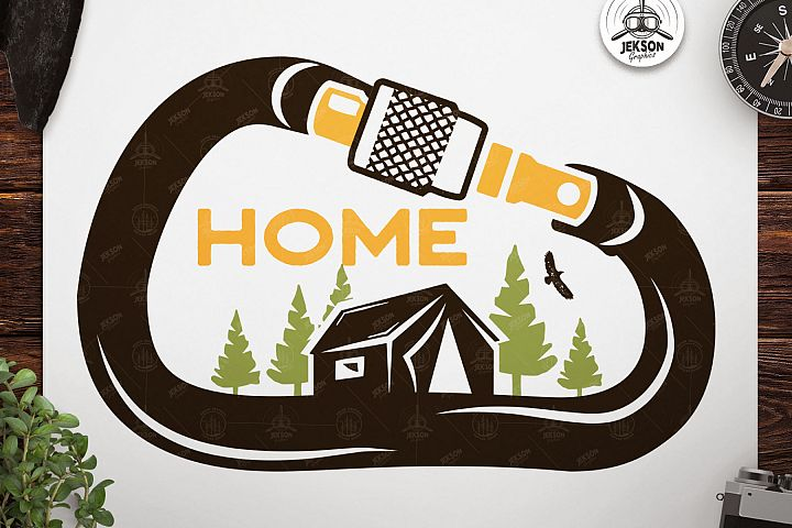 Vintage Travel Logo, Retro Climbing Camp Badge - Nature Home