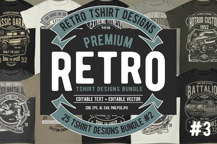 25 Retro Tshirt Designs Bundle 3 #2
