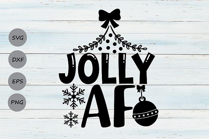 Jolly AF Svg, Christmas Svg, Funny Christmas Svg, Holidays.