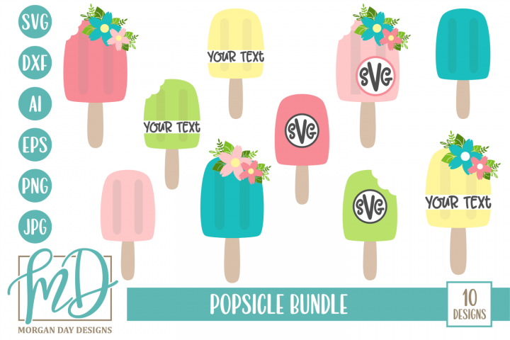Monogram SVG - Floral SVG - Summer - Popsicle Bundle SVG