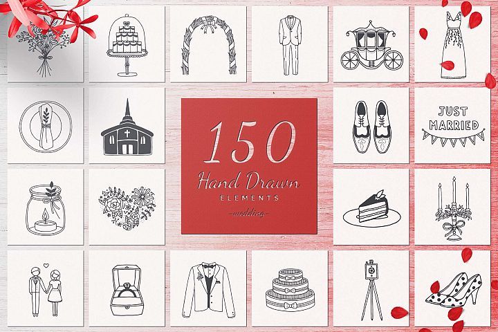 150 Hand Drawn Elements -Wedding-