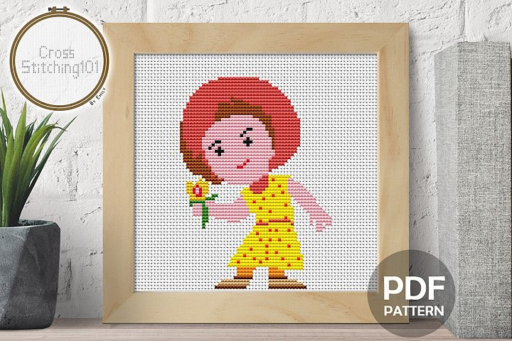 Cartoon Girl Cross Stitch Pattern - Instant Download PDF
