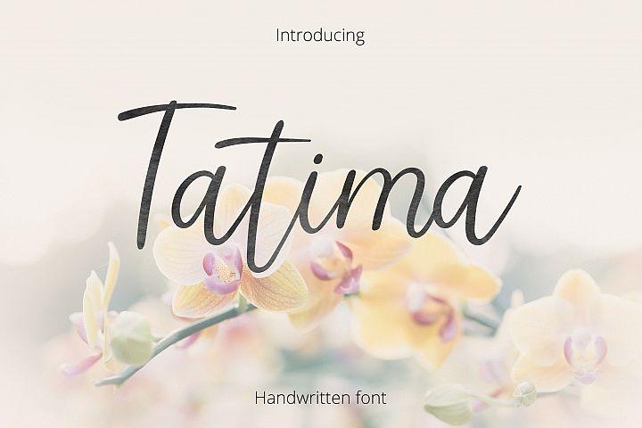 Tatima. Handwritten font.  example