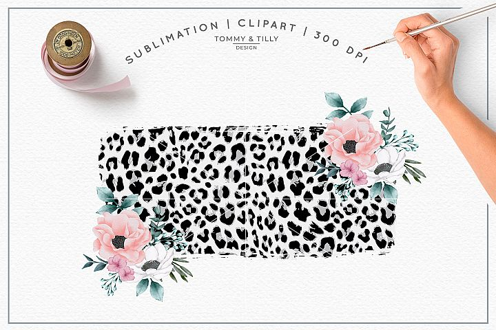 Leopard Floral Background No.1 - Sublimation PNG Clipart