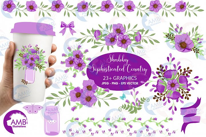 Shabby Sophisticated Country Floral cliparts, AMB-2619
