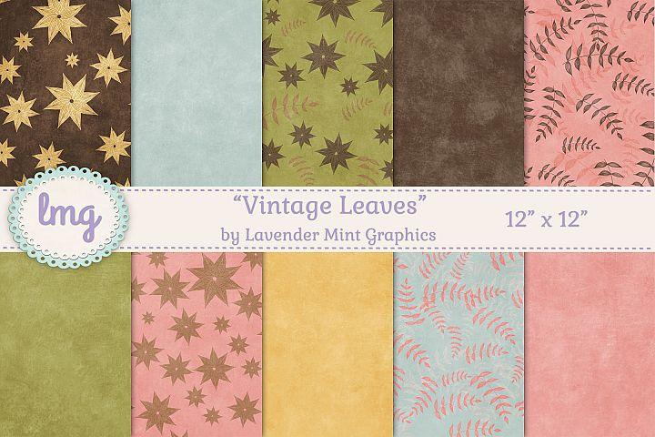 Vintage Leaves Fall Digital Scrapbooking Paper