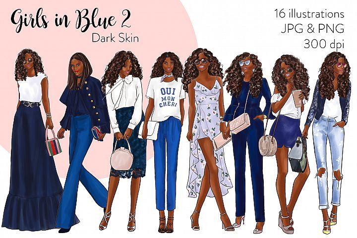 Fashion illustration clipart - Girls in Blue 2 - Dark Skin