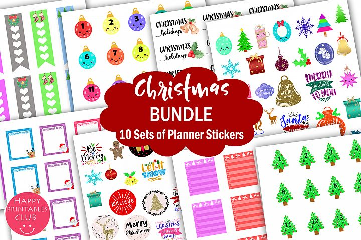 Christmas Planner Stickers Bundle- Holiday Stickers Bundle