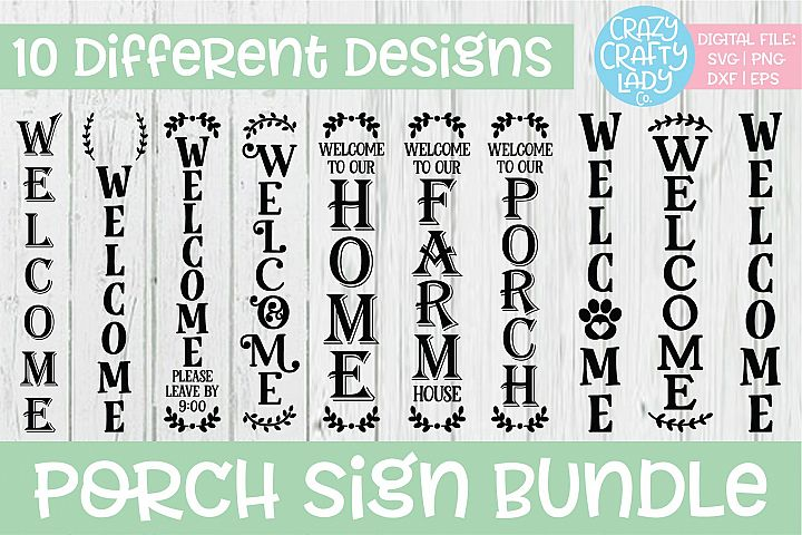 Porch Sign SVG DXF EPS PNG Cut File Bundle