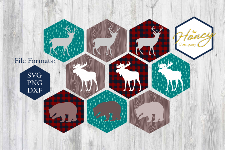 Moose Bear Deer SVG DXF PNG Set Modern Mountain Tree Plaid