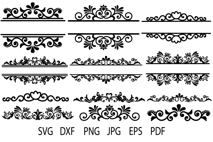 Floral Vintage Frames, Ornamental Split Frame SVG, Flourish - Free Design of The Week Design0