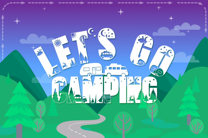 Lets Go Camping | Camping & Hiking Font with Extras