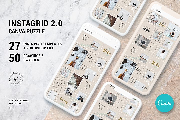 #InstaGrid 2.0 - Creative & Modern Canva Puzzle Template
