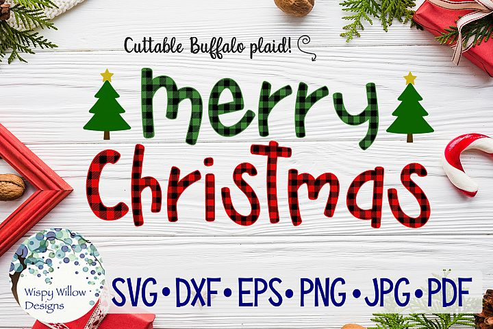 Merry Christmas Buffalo Plaid SVG