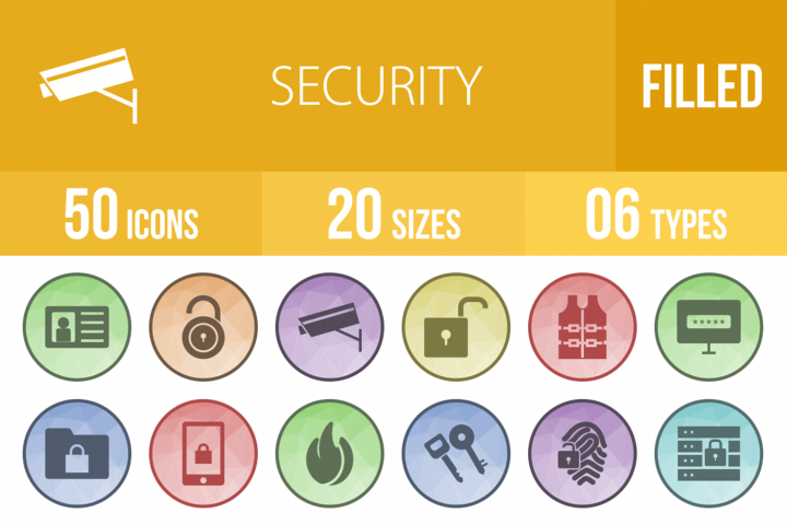 50 Security Filled Low Poly Icons