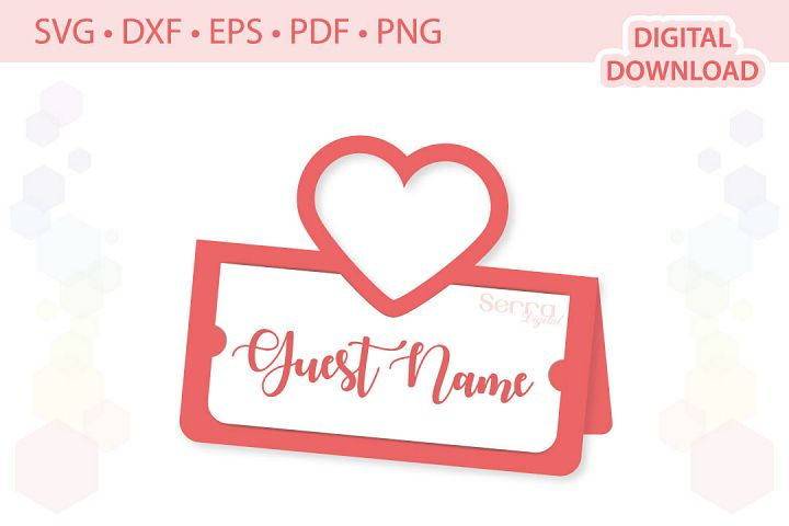 Heart Place card cut file SVG DXF EPS PDF PNG