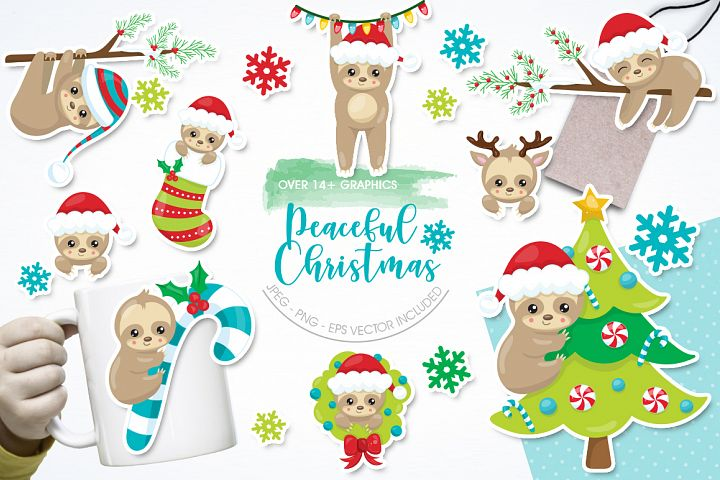 Peaceful Christmas graphic and illustrations