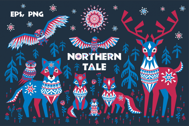 Northern tale. Arctic animals in Tribal style.