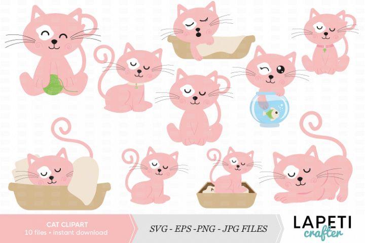Cat clipart, cat clip art printable, cute pink cat clip art