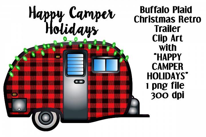 Happy Camper Holidays Buffalo Plaid Travel Trailer Clip Art