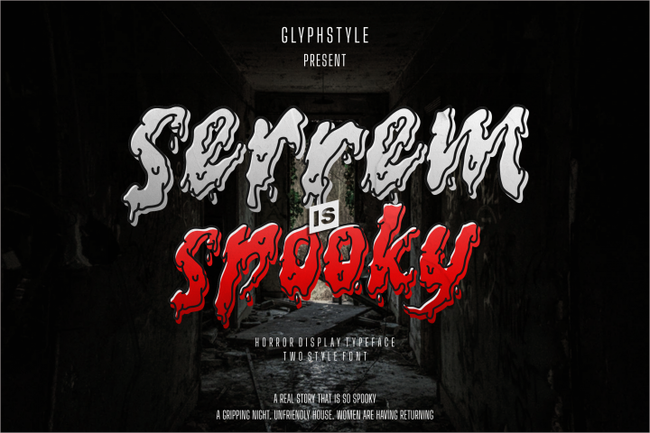 serrem - a spooky two style font