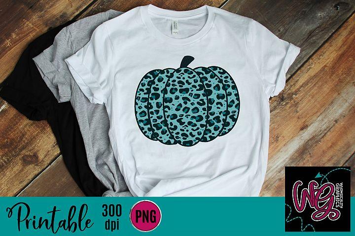 Teal Leopard Pumpkin Sublimation Printable