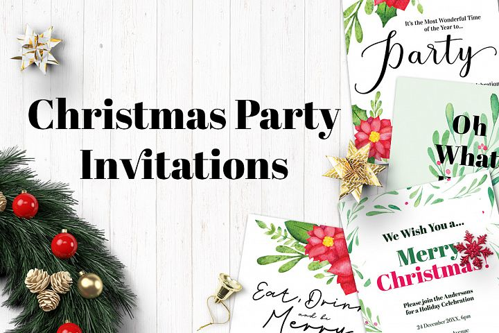 Watercolor Christmas Party Invitation Templates