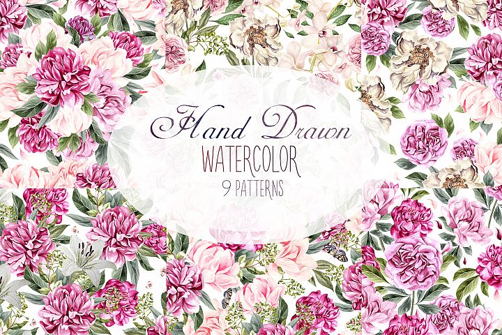 Hand Drawn Watercolor 9 Pattern
