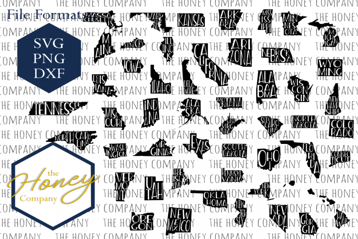 United States SVG PNG DXF All 50 States Outline Instant Download Silhouette Cricut Cut Files Cutting Machine Vector File
