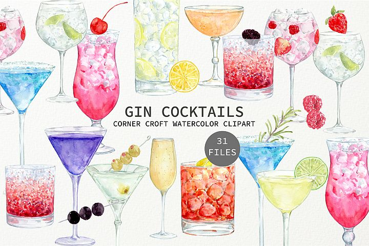 Watercolor Gin Cocktail Illustration and Prints