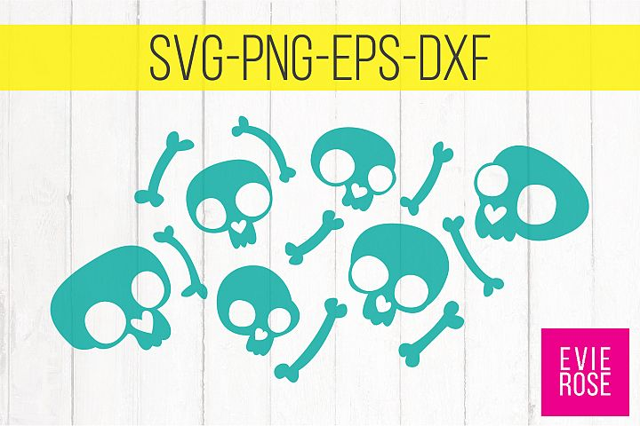 Cute Skull and Bones Clipart - Cut File Set