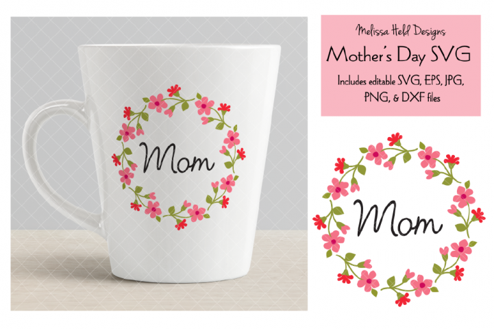 Mothers Day Graphic with Floral Wreath
