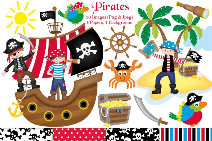 Pirate clipart, Pirate graphics & illustrations, Pirate ship