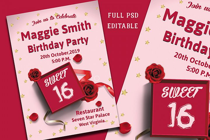 Sweet Sixteen Birthday Invitation Card