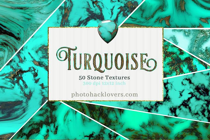 50 Turquoise and Gold Stone Textures