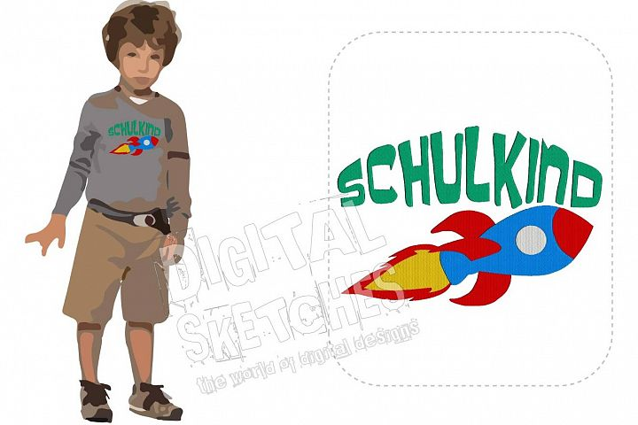 Schulkind Rocket Saying German Machine Embroidery Design