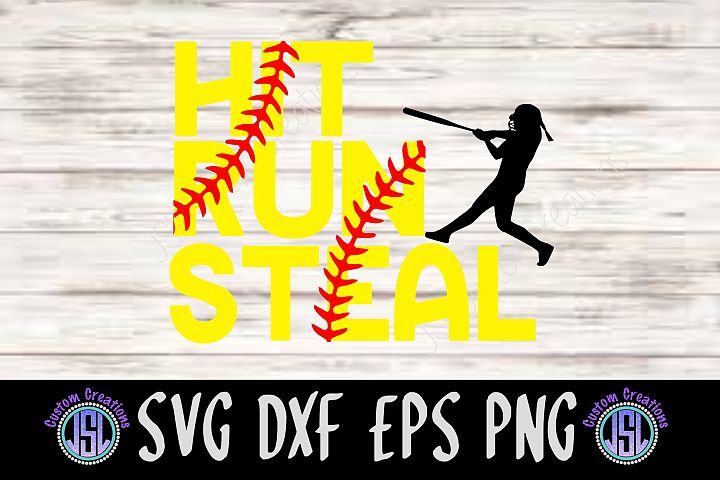 Hit Run Steal | Set of 2 Softball Bundle| SVG DXF EPS PNG